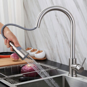 Details about Brushed Nickel Kitchen Sink Faucet Pull Out Sprayer Single  Hole Swivel Mixer Tap