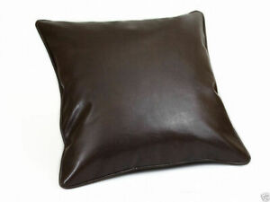 Pillow Leather Cushion Cover Decor Set Genuine Soft Lambskin Brown All Sizes 4