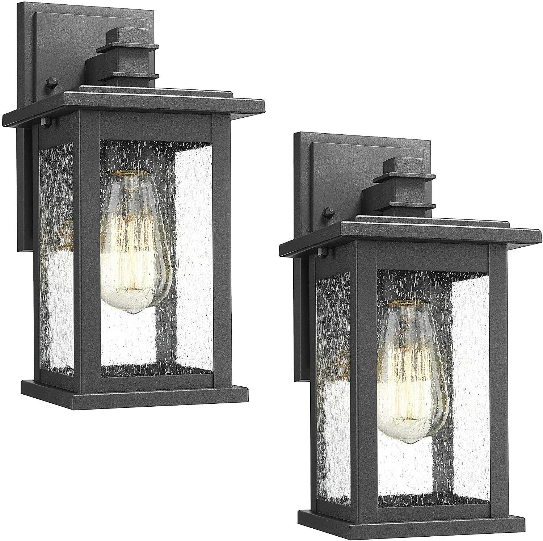 Emliviar Outdoor Wall Mount Lights 2 Pack 1 Light Exterior Sconces Lantern In For Sale Online Ebay