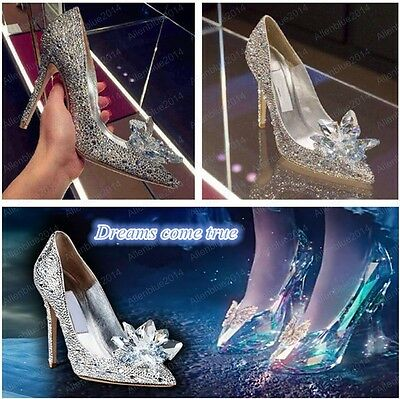 Movie Cinderella Wedding Party Diamond Ladies' Pumps Crystal High Heels Shoes