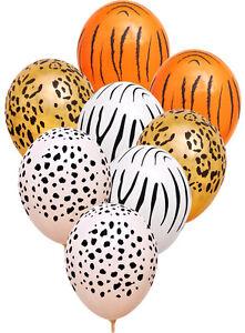 Jungle Safari Latex Helium Quality Latex Balloons x 8 Zoo Animal Decoration