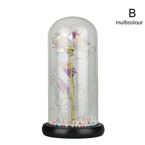 Galaxy Rose Flower In Dome Glass LED Night Light Valentine/'s Day Xmas Decor