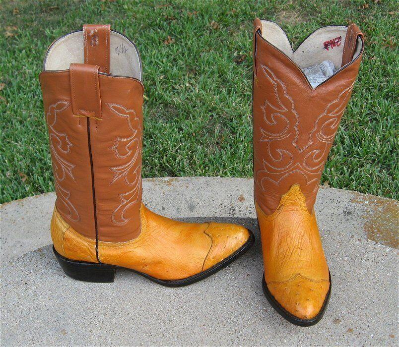 Nuevas botas de vaquero OSTRICH Wing Tip occidental para hombre 7`5M