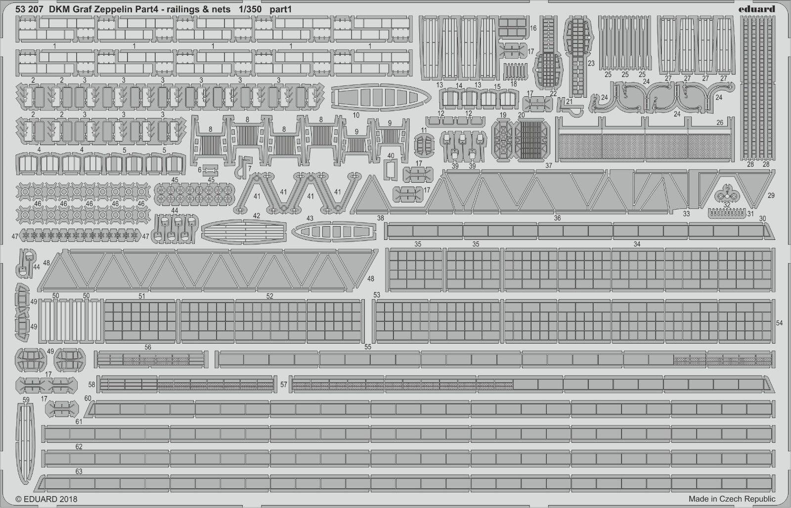 Eduard PE 53207 1 350 Graf Zeppelin Aircraft Carrier railings & nets part 4