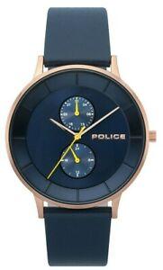 Police-Men-039-s-Classic-Quartz-Watch-Rose-Gold-Case-Blue-Leather-Strap-15402JSR-03