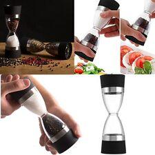 Portable 2 in 1 Manual Pepper Salt Shaker Spice Mill Grinder Hourglass Design RF
