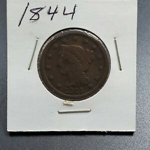 1844-1c-Liberty-Head-Large-Cent-Penny-US-Copper-Choice-Circulated-Condition