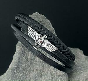 Leder-Biker-Armband-Herren-Damen-Edelstahl-Armkette-Kette-Adler-Surfer-Magnet