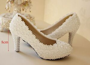 White Lace Shoes With Low Heel