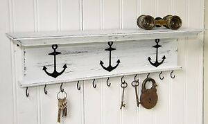 "Rustic Key Holder Wall Shelf WIth Hooks Nautical Boat Anchors 18"" Distressed"