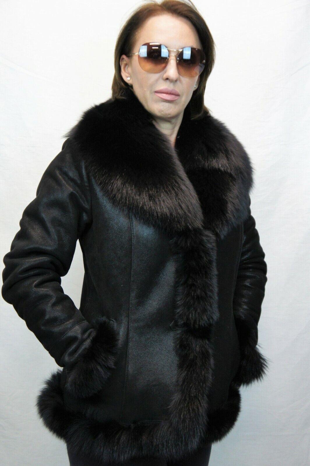 100% cuero de piel de oveja de  piel de oveja real, botones de Chaqueta de Abrigo de piel de zorro real XS-6XL  elige tu favorito