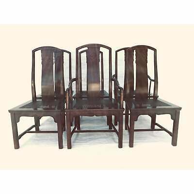 Vintage Henredon Dining Chairs Set 6, Asian Inspired Dining Chairs