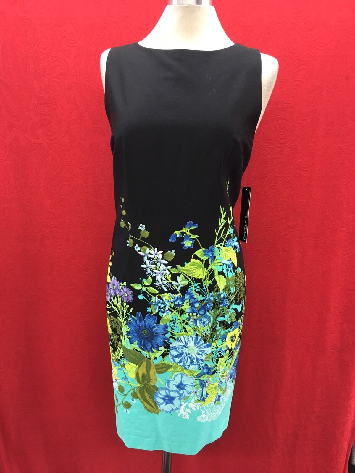 "CHETTA B Vestido Vestido Vestido Nuevo con etiqueta talla 12 Vestido De Algodón Vestido Con Forro longitud 39"" retail  99 0204d7"