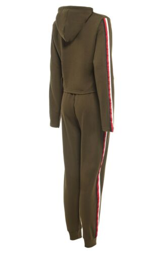 Womens 2 PCS Tracksuits Set Ladies Striped Cropped Hooded Loungewear Size 8-14