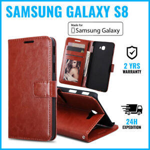 Leather-Wallet-Flip-Case-Cover-Cas-Coque-Etui-Hoesje-Brown-For-Samsung-Galaxy-S8