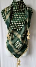 Olive Green Tan Unisex Shemagh Head Scarf Neck Wrap Cottton Autentic Cover