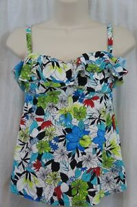 Island Escape Tankini Top Sz 8 Blue Multi Floral Print Ruffle Swimsuit P760147