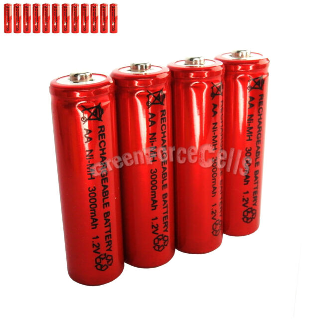 12 pcs AA LR06 3000mAh 1.2V NI-MH rechargeable battery CELL/RC MP3 2A SILVER RED