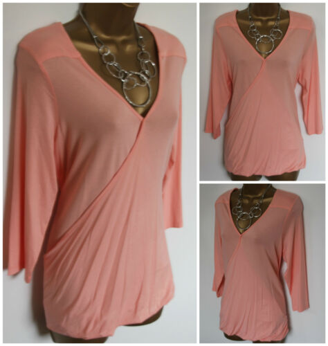 NEW EX M/&S PEACH FAUX WRAP CROSS OVER V NECK JERSEY TOP SIZE 16 18 20 22 24