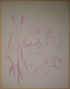 Initiative Drawing Original Janine Janet Portrait Of Young Woman Elegant Landscape C.1950 We Take Customers As Our Gods Art