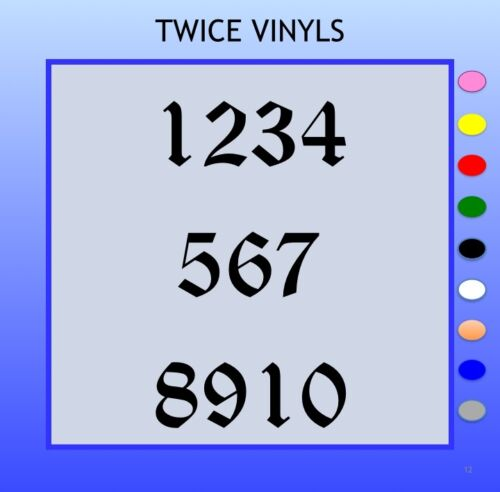 STICKY NUMBERS 1-10 Gothic 90mm OR 100mm vinyl set for house bins doors windows