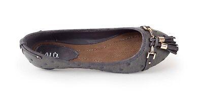 LALU Damen Ballerina Halbschuhe grau Schuhe aus ITALIEN Gr. 38 | NEU
