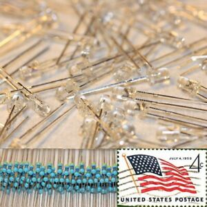 100x-Warm-White-3mm-Round-Top-LEDs-Water-Clear-Light-12v-Resistor-Kit-USA