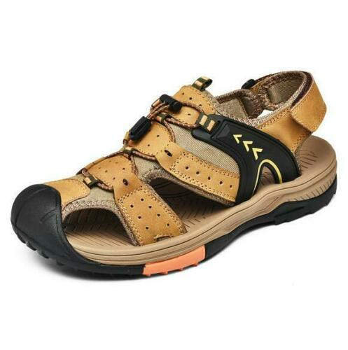 Men/'s Casual Sandals Summer Genuine Leather Beach Outdoor Shoes Closed Toe Size