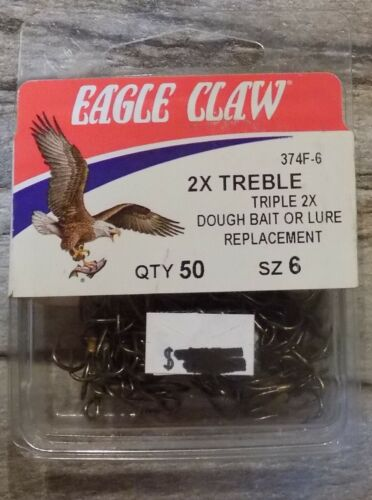 Eagle Claw 2x Treble Hooks Bronze 374F Select One