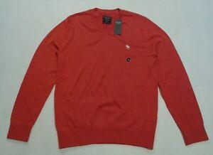 NWT-New-Abercrombie-amp-Fitch-Men-Lightweight-V-Neck-Sweater-Shirt-Orange-XS