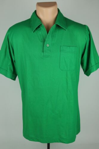 Vintage Career Club Mens Large Solid Green Polo Po
