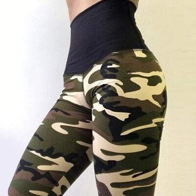 Damen Camouflage Butt Lift Sport Hose Leggin Leggings Fitness Treggings Stretch