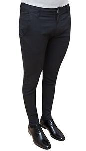 Pantalones-Hombre-Sastreria-Casual-Negro-Slim-Fit-Algodon-Talla-De-44A-58