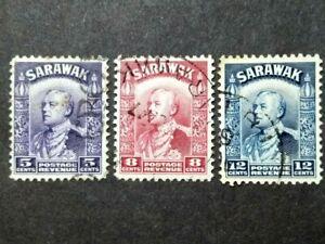 Malaya-Sarawak-1934-Sir-Charles-Vyner-Brooke-Loose-Set-Up-To-12c-3v-Used