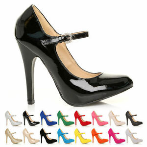 NEW-WOMENS-MARY-JANE-STRAP-COURT-SHOE-HIGH-HEEL-PUMPS-SUEDE-PATENT-LADIES