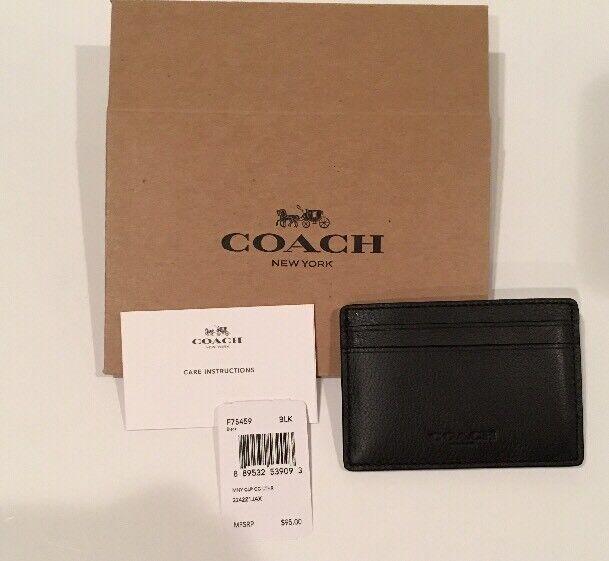 NEW Coach Men's Money Clip Card Holder Case Wallet Leather Black F75459 + BOX