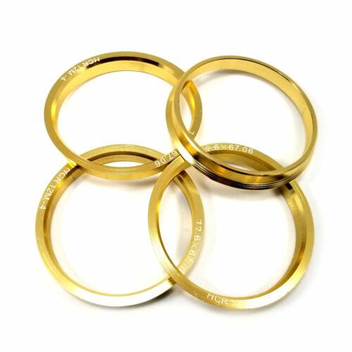 Aluminum Metal Centric Rings 67.06mm Hub to 72.62mm Wheel//Rim Set 4