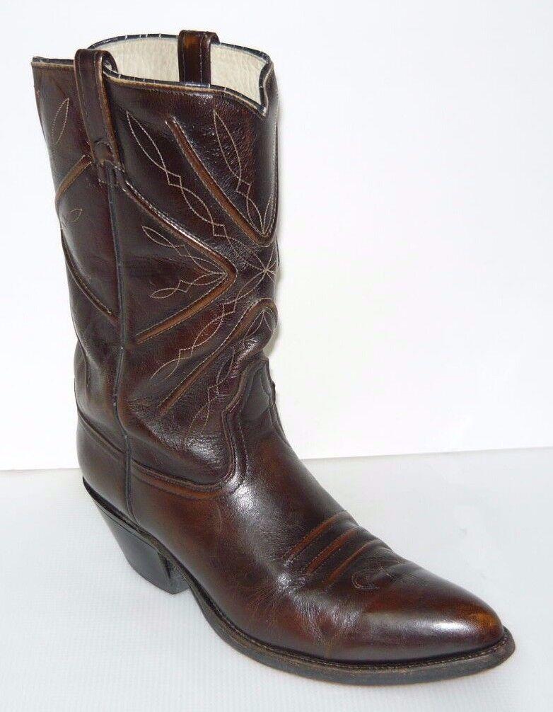 Acme Vtg Brown Pelle Stock Show Cowboy Stivali Uomo Sz 12B