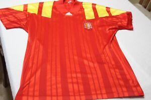 CAMISETA-DE-SELECCION-DE-ESPANA-VINTAGE-1992-ADIDAS-TALLA-XL-MUY-COTIZADA-SHIRT