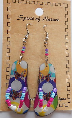 Spirit of Nature Earrings  flip flops- butterflies circles- purple blue yellow