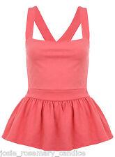 Miss Selfridge Rose Texture Pinny Top 10 38 Pink Peplum Strappy Summer New