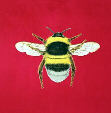 TEX EX ORIGINAL FLORA & FAUNA BUMBLEBEE BEE CUSHION PANEL STRAWBERRY RED VELVET