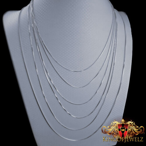 REAL .925 STERLING SILVER MEN/'S WOMEN/' BOX CHAIN NECKLACE 16 Inch ~30 Inch 0.8mm