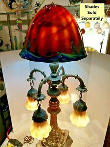 VINTAGE 6-Light massive des monstres marins Baroque ARTS & CRAFT Travail Lampe 1900-1940
