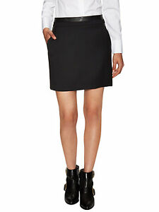Vince Black Wool Blend Leather Trim Skirt Size 8 Nwt $395 by Vince
