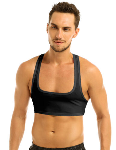 Homme Fitness Muscle demi-Tank Top Gilet Tee T-shirt Clubwear Crop Tops Dos nageur