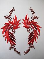 5084r Lot 2pcs Red Flower Trim Fringe Leaves Embroidery Iron On Applique Patch
