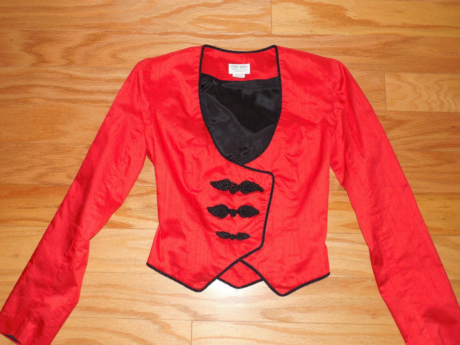 Señoras Seda Roja Western Show Placer Corset Estilo chaqueta Hobby Horse Petite