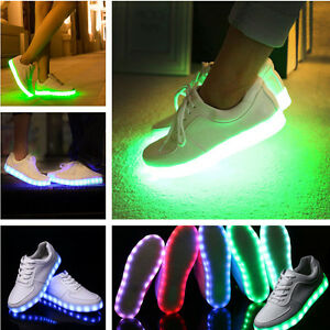 7 colors LED Light Lace Up Luminous Shoes Sportswear Sneaker Casual Shoes white