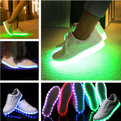 Unisex LED Light Lace Luminous Shoes Sneaker Luminous Casual Shoes US Shipping